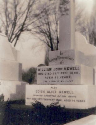 Newell gravestone at Brockley Cemetery